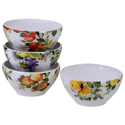 Ambrosia 4-Piece Seasonal Multicolored Earthenware 28 oz. Ice Cream Bowl Set (Service for 4)