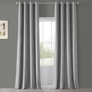 Silver Grey Velvet Grommet Blackout Curtain - 50 in. W x 120 in. L