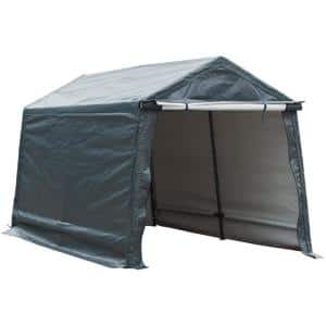 10 ft. W x 10 ft. D x 8.7 ft. Grey Outdoor Storage Shelter with Sidewalls and Rolled Up Doors