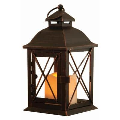 Aversa 10 in. Antique Brown LED Lantern with Timer Candle