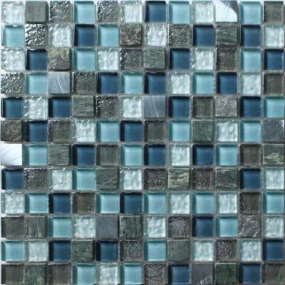 Brixton Blue 11.81 in. x 11.81 in. Square Joint Polished/Matte Marble Glass Metal Mosaic Wall Tile (0.97 sq. ft./Ea)