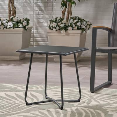 Alder Grey Square Metal Outdoor Side Table