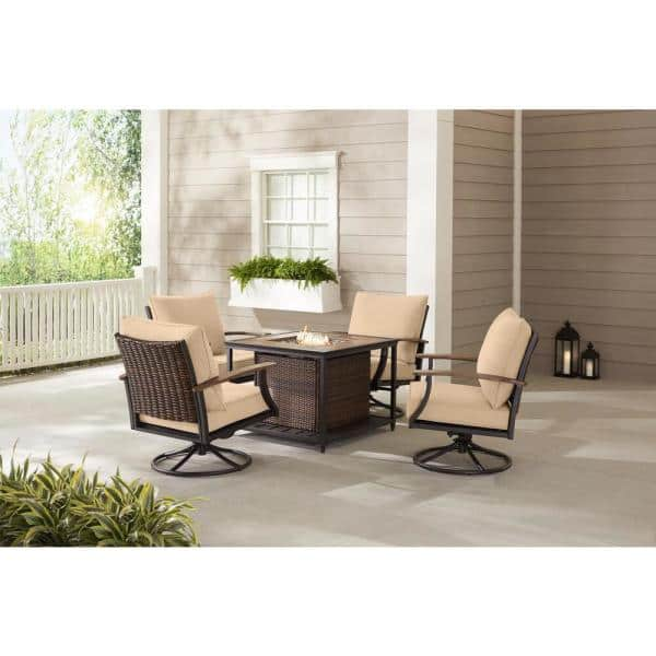 Hampton Bay Fiddler S Creek 5 Piece Brown Metal Outdoor Patio Fire Pit Seating Set With Sunbrella Beige Tan Cushions H187 01574700 The Home Depot