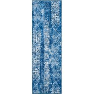Adirondack Silver/Blue 3 ft. x 8 ft. Runner Rug
