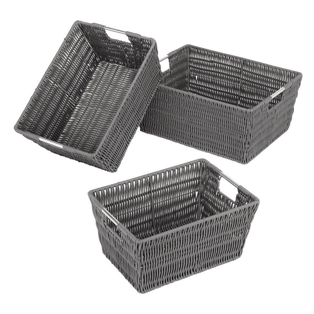 Whitmor 12 In D X 7 In D X 15 In W Grey Wicker Cube Storage Bin 6500 1959 Grey The Home Depot