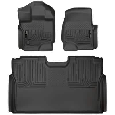 Front and 2nd Seat Floor Liners Fits 2015-19 Ford F-150 SuperCrew