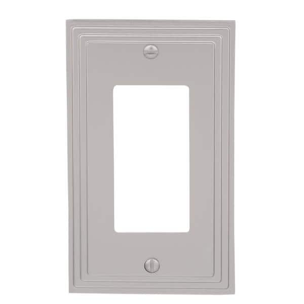 Hampton Bay Tiered 1 Gang Rocker Metal Wall Plate Satin Nickel 84rnhb The Home Depot