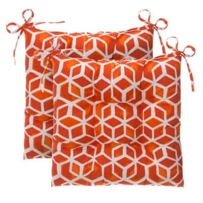 Cubed Orange Rectangle Outdoor Tufted Seat Cushion (2-Pack)