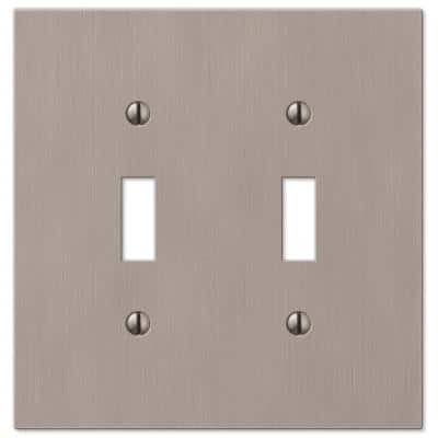 Barnard 2 Gang Toggle Metal Wall Plate - Brushed Nickel