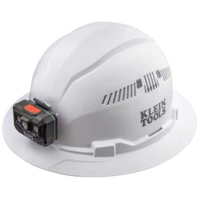 Hard Hat, Vented, Full Brim with Rechargeable Headlamp