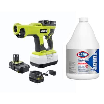 ONE+ 18V Cordless Handheld Electrostatic Sprayer with 2 Batteries, Charger and Clorox Turbo 121 oz Disinfectant Cleaner