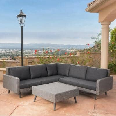 4-Piece Wicker Patio Sectional Seating Set with Dark Gray Cushions