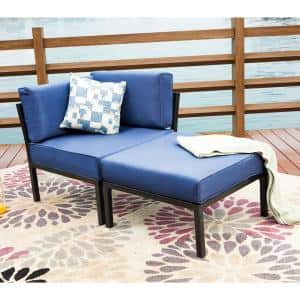 2-Piece Metal Outdoor Sectional with Blue Cushions