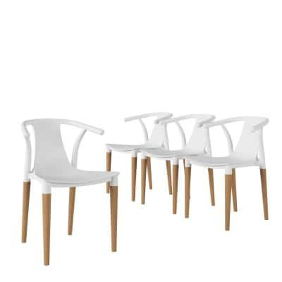 Walden Mid-Century Modern Matte White Resin Side Chairs with Natural Wood Legs (Set of 4)