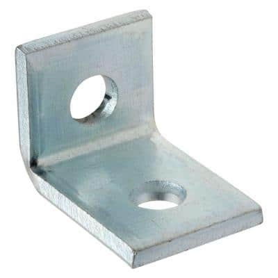 2-Hole 90 Degree Angle Strut Bracket - Silver Galvanized