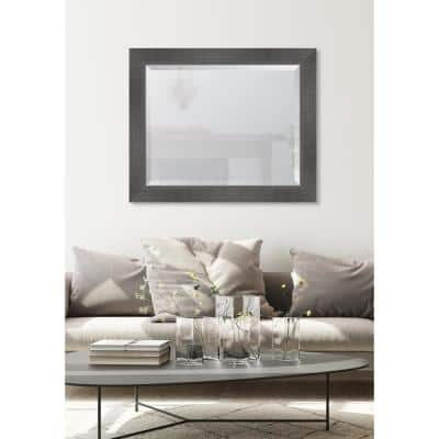 Medium Rectangle Grey Beveled Glass Casual Mirror (34 in. H x 28 in. W)