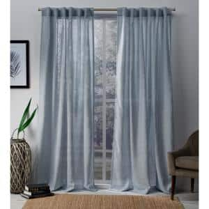 Melrose Blue Faux Linen Back Tab Sheer Curtain - 54 in. W x 84 in. L (Set of 2)