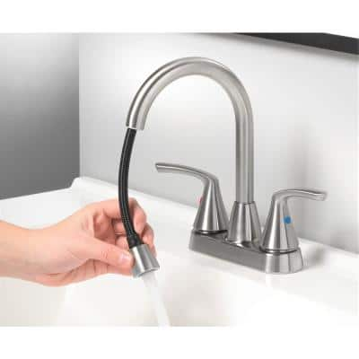 4-in Centerset 2-Handle bathroom faucet with plastic push pop up in Brushed Nickel