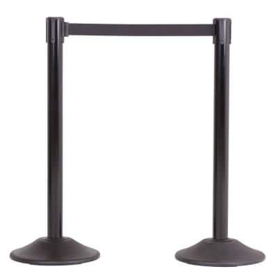 US Weight Heavy-Duty Black Premium Steel Stanchion with 7.5 ft. Black Retractable Belt (2-Pack)