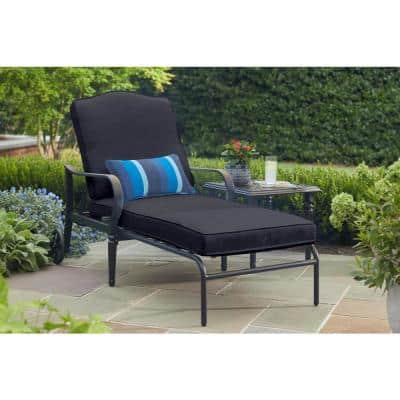 Laurel Oaks Brown Steel Outdoor Patio Chaise Lounge with CushionGuard Midnight Navy Blue Cushions