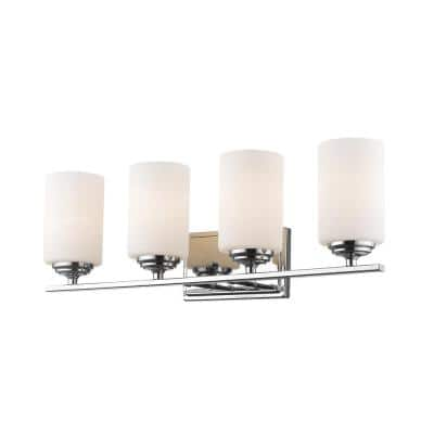 Nicol 4-Light Chrome Bath Light with Matte Opal Glass Shade