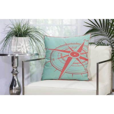 Compass Aqua and Coral Geometric Stain Resistant Indoor/Outdoor 20 in. x 20 in. Throw Pillow
