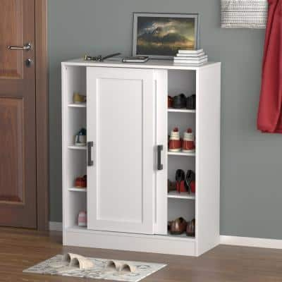 31.5 in. W x 40 in. H 16-Pair White Wood 2-Sliding Door Shoe Storage Cabinet with 8-Compartments