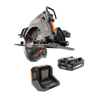 RIDGID 18-Volt OCTANE Brushless Cordless 7-1/4 in. Circular Saw Kit with 18-Volt Lithium-Ion 2.0 Ah Battery and Charger