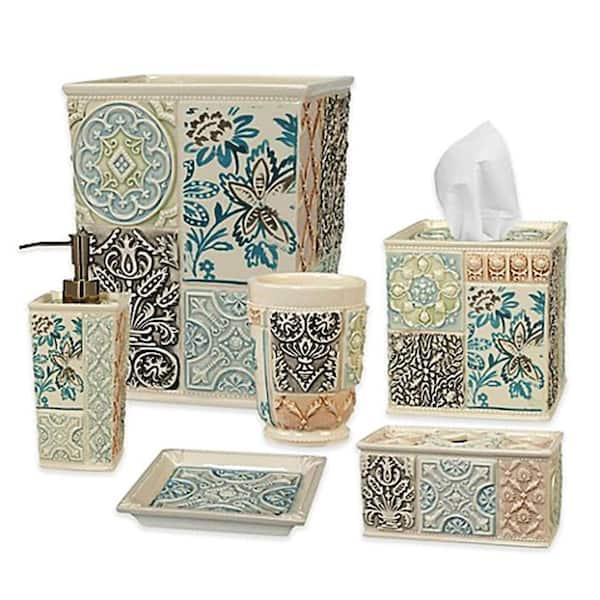 Creative Bath Veneto 6 Piece Ceramic, Green And Blue Bathroom Accessories