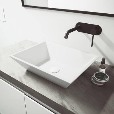 Lenox cFiber Single-Handle Wall Mount Bathroom Faucet in Matte Black
