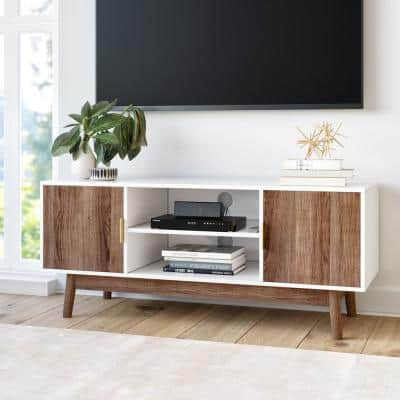 Wesley 43 in. White and Rustic Oak Particle Board TV Stand Fits TVs Up to 40 in. with Storage Doors