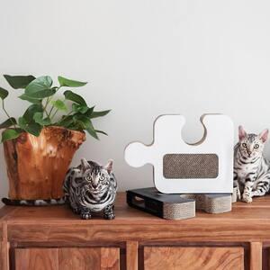 Puzzle White Cardboard Cat Scratcher