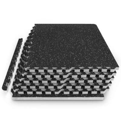 Rubber Top Thick Exercise Puzzle Mat Grey 24 in. x 24 in. x 0.75 in. EVA Foam Interlocking Tiles (6-Pack (24 sq. ft.)