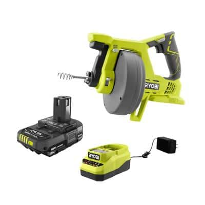 ONE+ 18V Cordless Drain Auger and 2.0 Ah Compact Battery and Charger Starter Kit