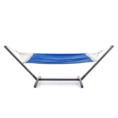 Aspen 6.5 ft. Portable Quilted Hammock Bed with Stand in Grey and Light Blue
