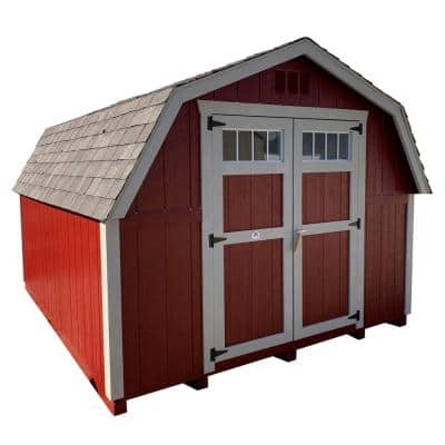Colonial Greenfield 10 ft. x 18 ft. Wood Storage Building DIY Kit with 4 ft. Sidewalls with Floor