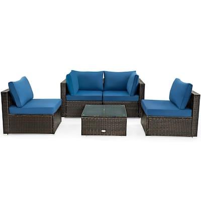 5-pc Rattan Patio Conversation Set Sofa Furniture Set with Navy Cushions