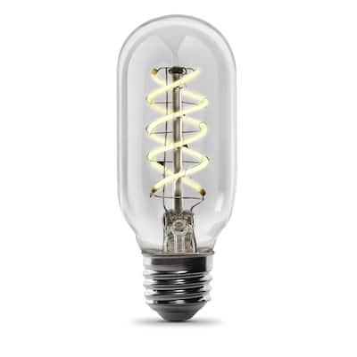 40-Watt Equivalent T14 Dimmable Spiral Filament Clear Glass E26 Vintage Edison LED Light Bulb, Warm White