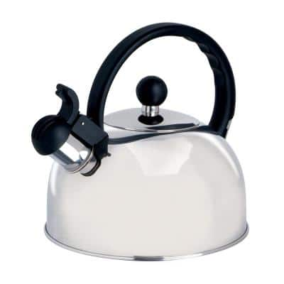 Spring 10-Cup Silver Stainless Steel Whistling Kettle