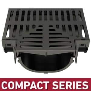 Compact Series Tee for 3.2 in. Trench and Channel Drain Systems with Black Grate