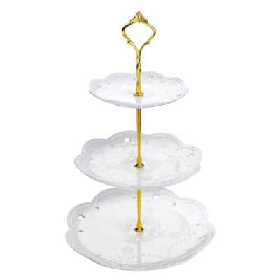 3-Tiered White Cupcake Tower Stand Porcelain Tiered Serving Stand Round Dessert Stand