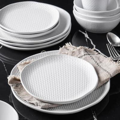 32-Piece Casual White Stoneware Dinnerware Set (Set for 8)