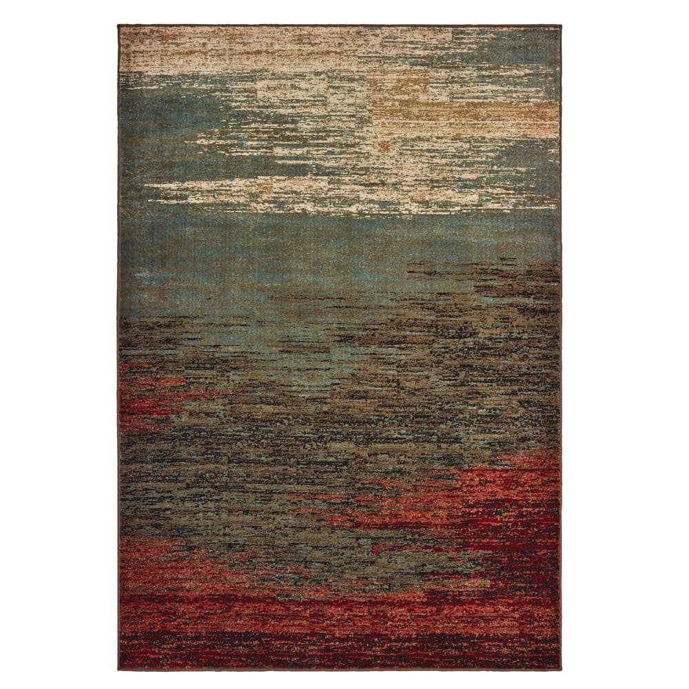 Lexington Brown Blue 8 Ft X 10 Ft Abstract Area Rug 019897 The Home Depot