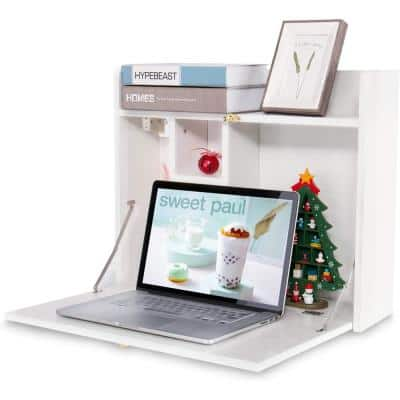 24 in. White Retangular Wood Computer Desk with Storage Shelves