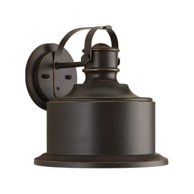 Callahan LED Collection 1-Light Antique Bronze Antique Bronze Metal Shade Farmhouse Outdoor Medium Wall Lantern Light