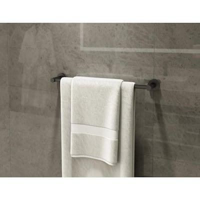 Dia 24 in. Wall-Mounted Towel Bar in Matte Black