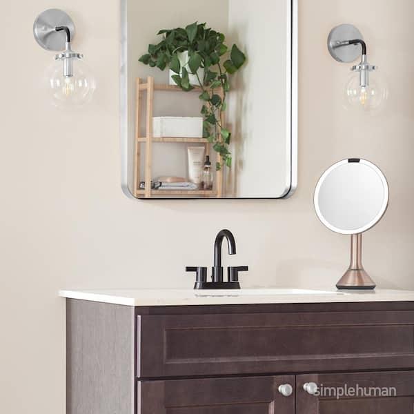 Simplehuman 8 In Lighted Sensor Mirror, Rose Gold Bathroom Mirror Cabinet