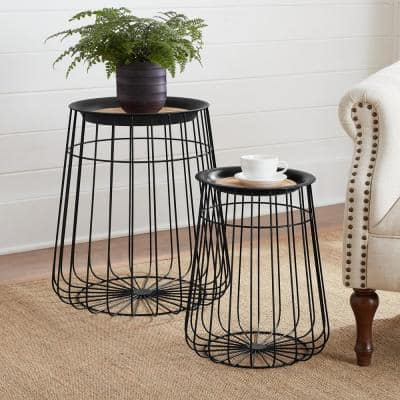 Round Black Metal Decorative Basket with Wood Lid (Set of 2)