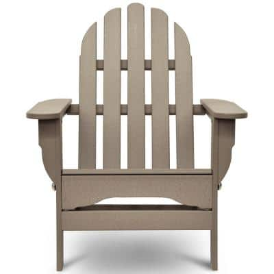 Icon Weathered Wood Plastic Folding Adirondack Chair