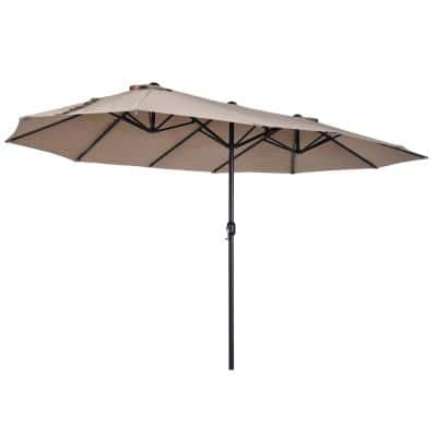 15 ft. Steel Rectangular Outdoor Double Sided Market Patio Umbrella with UV Sun Protection & Easy Crank in Tan